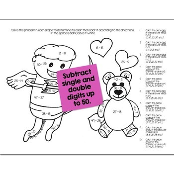 Valentines Math Practice Color by Number Grades K-4 Bundle