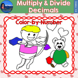 Multiply & Divide Decimals Math Practice Valentines Color