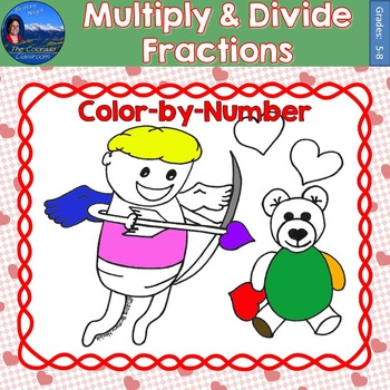 Multiply & Divide Fractions Math Practice Valentines Color