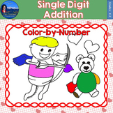 Single Digit Addition Math Practice Valentines Color by Number