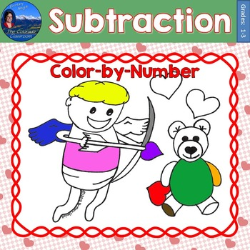 Subtraction Math Practice Valentines Color by Number