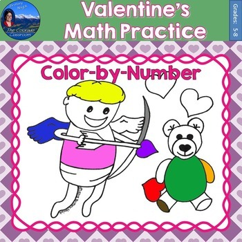 Valentines Math Practice Color by Number Grades 5-8