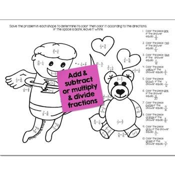 Valentines Math Practice Color by Number Grades 5-8 Bundle