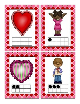 Valentine's Math Scavenger Hunt: Numerals, Ten Frames, Counting and Cardinality