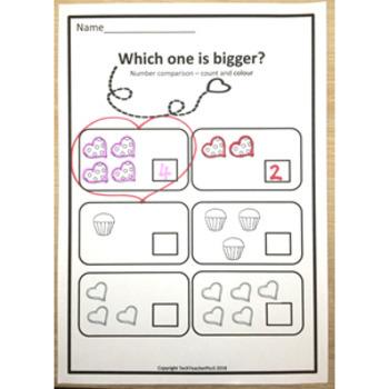 Valentine's Day Math Centers number work activities