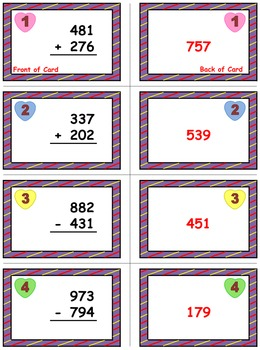 Valentine's Math Skills & Learning Center (Add & Subtract Whole Numbers)
