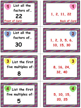 Valentine's Math Skills & Learning Center (Factors & Multiples)