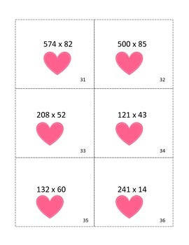 Valentine's Math Task Cards-A Seat Scoot or Center Activity!
