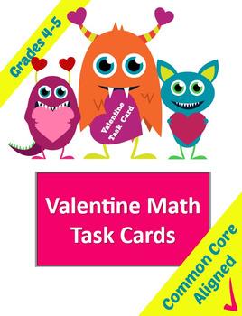 Valentines Math Task Cards for Grades 4-5