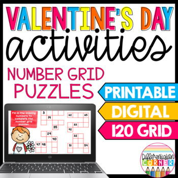 Valentines Math Worksheets With 120 Chart By Differentiation Corner