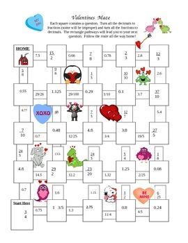Valentines Maze (Fractions and Decimals)