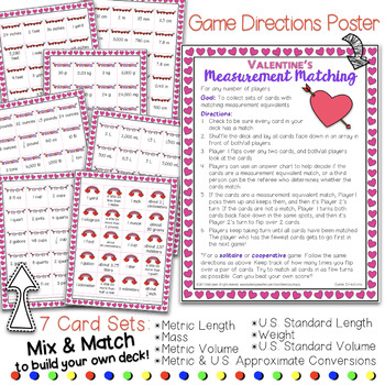 Valentines Measurement Equivalents Matching Card Game Math Center Activity