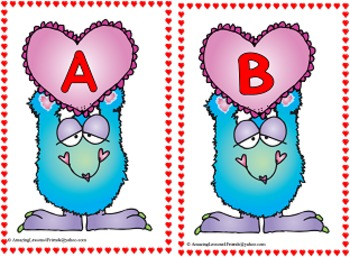 Valentines Monsters Alphabet Cards and  Matching Game