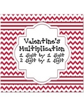 Valentine's Multiplication 1 digit by 1 digit and 2 digit by 1 digit