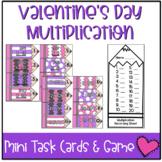 Valentine's Day Mini Task Cards: Multiplication