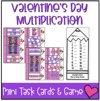 Valentine's Day Mini Task Cards: Multiplication