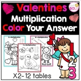 Valentines Multiplication - Color Your Answer for x 2-12 Times Tables