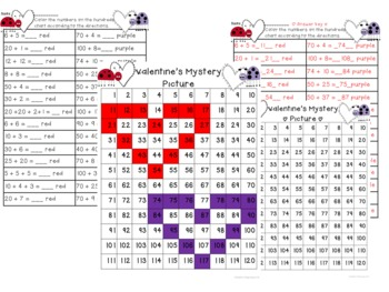 Valentine's Mystery Picture addition and place value