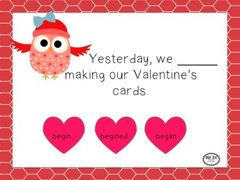Valentine's No Print Irregular Past Tense Verbs!