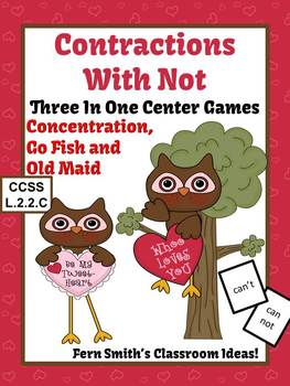 St. Valentine's Day Not Contractions Center Games, Task Cards, and Printables