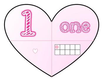 Valentine's Heart Number Cards Math Center FREEBIE