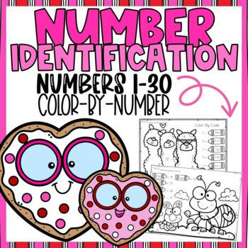 Valentines Number Identification 1-30 Color-By-Number