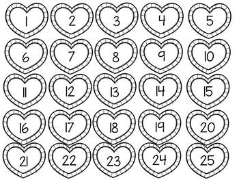 Valentines Number Order Math Center