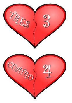 Valentine's hearts cut & match numbers 0-10 FREE