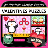 Valentines Number Puzzles - 20 Valentine Number Puzzles 1-10 + Times Tables