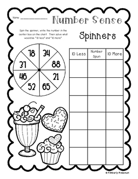 Valentine's Number Sense: 10 More, 10 Less, 100 More, 100 Less Spinners