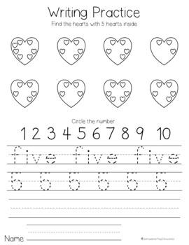 Valentine Numbers 0-10