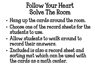 Valentine's Odd and Even Math Center and Solve the Room