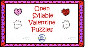 Valentine's Open Syllable Puzzles