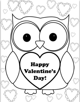 Valentine's Owl Coloring page by Mandy Nicholas | TpT