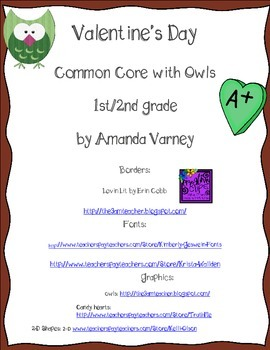 Valentine's Owl Themed Common Core Math