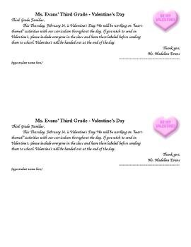 Valentine's Parent Letter