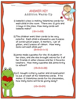 Valentines Party: Addition Warm-Up!