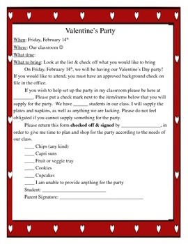 Valentine's Party Letter