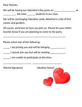 Valentine's Party Parent Letter