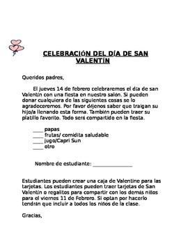 Valentines Day Celebration Letter English  Spanish by A to Z