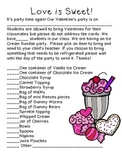 FREE! Valentine's Party Parent Letter- Ice Cream Sundae Party