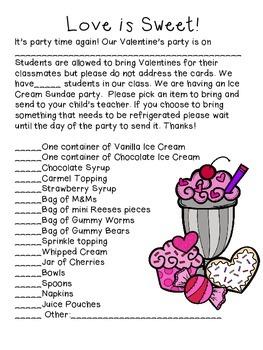 FREE! Valentine's Party Parent Letter- Ice Cream Sundae Party