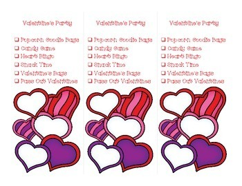 Valentine's Party Schedule and Bags