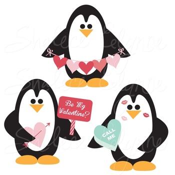 Valentine's Penguins Digital Clipart
