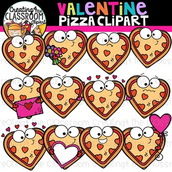 Valentines Pizza Clipart {Valentines Day Clipart}
