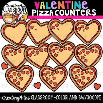 Valentines Pizza Counting Clipart {Counting Clipart}