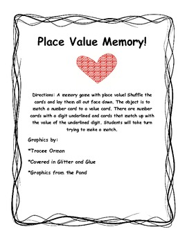 Valentine's Place Value Memory