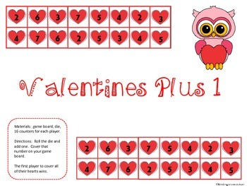 Valentines Plus One and Minus One Dice Games
