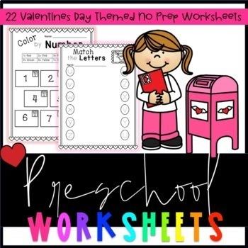 Valentines Pre-K Worksheets (No prep)