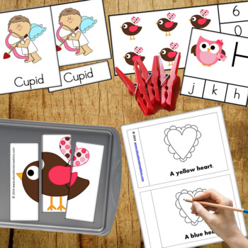 Valentines Day Preschool and PreK Literacy ELA and Maths Activities Bundle